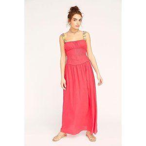 Free People Santorini Midi Dress in Hot Hibiscus 8
